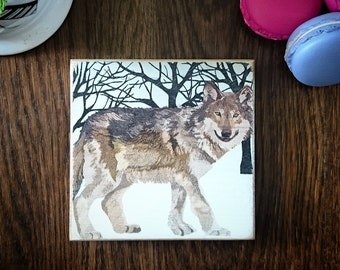 Chunky Coaster Wildlife WOLF coasters wooden rustic handmade animals woods forest