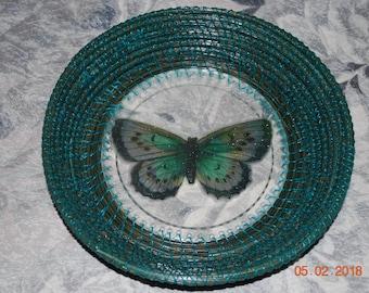 """Pine Needle Basket """"Green Butterfly"""""""
