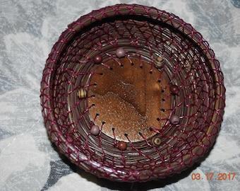 """Pine Needle Basket """"Raspberry Walnut Swirl"""""""