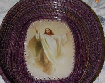 """Pine Needle Basket """"Jesus Ascending"""" Large Size"""