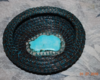 """Pine Needle Basket """"Tuquoise at Midnight"""""""