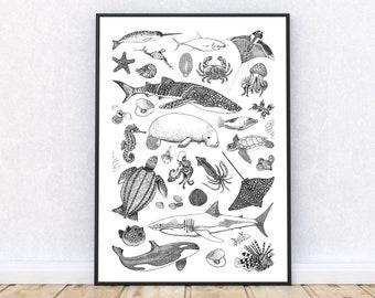 Black and White Sea Creature Tattoos Poster, Sea Creatures Art, Sea Animals Wall Art