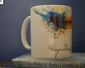 Mug - Wingardium Leviosa - Watercolor feather design