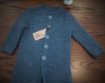 Vintage Crochet Winter Coat. Sz 1-2 Years. Bamboo/Wool Denim Blue.  New - Ready to ship