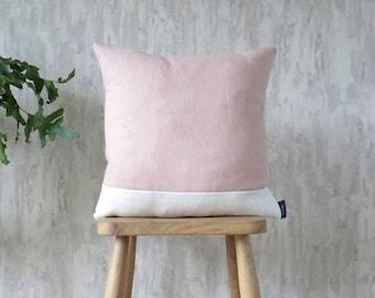 Pink Rose & White Cushion, Stripe Linen Cotton Mix Pink