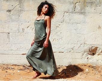 Bohemian Maxi Dress , Bohemian Clothing , Prom Backless Dress , Women's Maxi Dress , Green Evening Dress