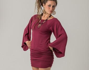 Red Gypsy Dress , Gypsy Clothing , Pixie Dress , Pixie Clothing , Maroon Dress , Red Gypsy Pixie