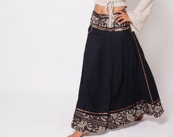 84b758d919 Bohemian Skirt, Boho Skirt, Bohemian Clothing, Black Gypsy Skirt, Long Skirt,  Festival clothing, Tribal Clothing, Long Black Skirt, One Size