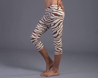 Zebra Printed Leggings, Women's Leggings, Bohemian Boho Leggings , 3/4 Leggings, Women Clothes