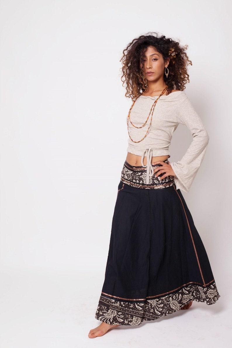 Bohemian Skirt Boho Skirt Bohemian Clothing Black Gypsy image 0