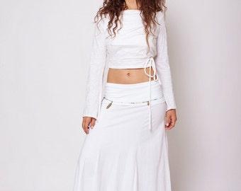 White Long Skirt , White Gypsy Skirt , Maxi Skirt , Fairy Skirt , Hippie Skirt