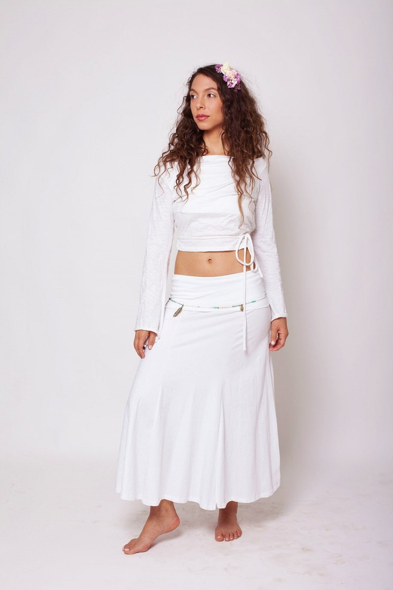 White Long Skirt White Gypsy Skirt Maxi Skirt Fairy Skirt Hippie Skirt Bohemian Clothing Festival Clothing Goddess Skirt Boho Skirt