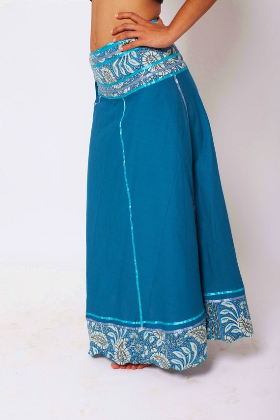Bohemian clothing Hippie Skirt Long Goddess Skirt Maxi Skirt Festival Turquoise Skirt Summer Spring Skirt Cotton Skirt Tribal Skirt