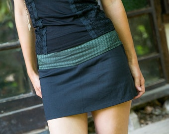 SALE 50% OFF - Black Mini Skirt - Festival Skirt - Short Skirt - Green and Black Cotton Skirt - Tribal Skirt