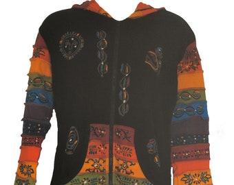 Damen mit Kapuze Hippy Lang Maxi Jacke Gefüttert oder Nicht Gefüttert N998