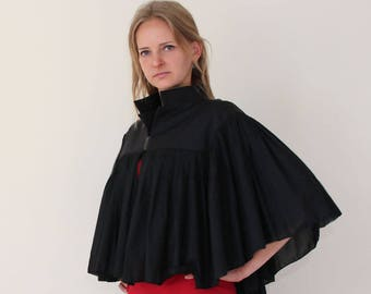 Black cape/poncho cotton and wool