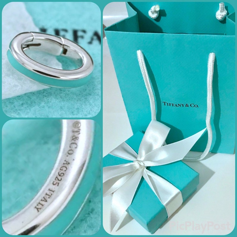 d957bb968e23c NEW Authentic Tiffany & Co Blue Enamel Sterling Silver Clasping Link Oval  Jump Spring Ring Charm Pendant Holder W/Pouch or Complete Gift Set