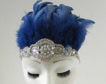 Navy Blue   Silver Feather Headdress Headband 1920s Showgirl Carnival Samba  9AK f22fb4435783
