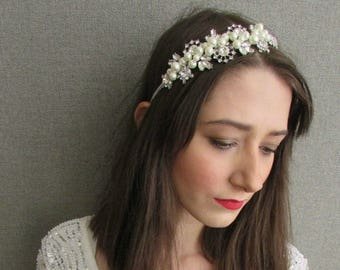Items similar to Ivory or White Lace Crystal Headband Bridal Wedding Accessories on Etsy