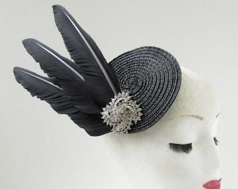 Black & Silver Diamante Feather Fascinator Headpiece Vintage Races 1930s 20s Z32