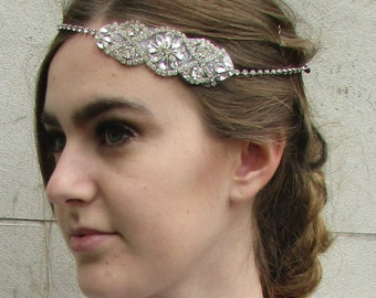 Silver Rhinestone Diamante Headband Bridal Headpiece Vintage 1920s Hair Band A85