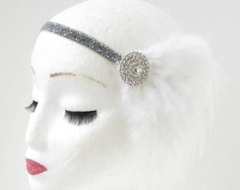 White Silver Feather Headband Great Gatsby Flapper Fancy Dress 1920s 1930s Y45