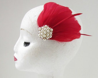 Brown Pheasant Feather Fascinator Hair Clip Pearl Vintage Races Derby 1920s Y69