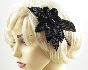 Black Sequin Beaded Headband Fascinator Vintage 1920s Great Gatsby Flapper 601