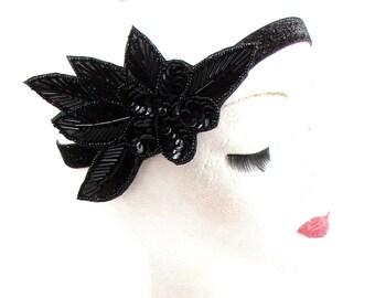 Black Sequin Beaded Headband Headpiece Vintage 1920s Great Gatsby Flapper 593