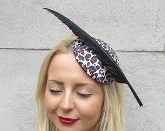 Leopard Animal Print Black Feather Fascinator Rockabilly Headpiece Races  2319 3a45145d1a5