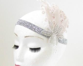 Cream & Silver Feather Vintage Headpiece 1920s Great Gatsby Flapper Headband 906