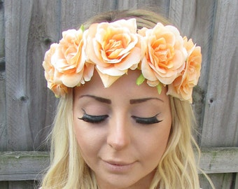 Apricot Nude Peach Rose Rose Flower Hair Crown Garland Headband Vintage  Boho Coachella Elasticated Headpiece Stretch Bridesmaid T82 45fd2bf8455