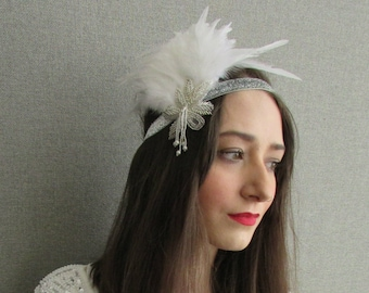White & Silver Feather Vintage Headpiece 1920s Great Gatsby Flapper Headband W98