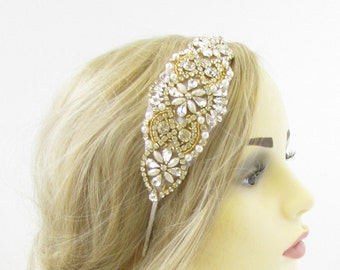 Silver Gold Ivory Pearl Bridal Headpiece Beaded Vintage Crystal Headband 20s 930