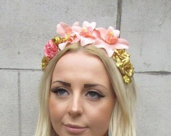 Lilac Grey Purple Rose Orchid Flower Garland Headband Hair Crown Festival 3616