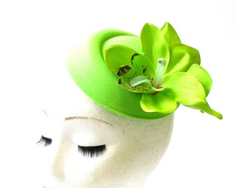 Lime Green Orchid Flower Pillbox Hat Fascinator Headpiece Races Rockabilly 2062