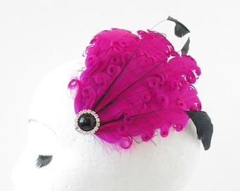 Hot Pink & Black Feather Fascinator Hair Clip Headpiece Vintage Silver 1920s S81