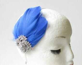 Royal Cobalt Blue Feather Turban Headpiece Fascinator 1920s Flapper Gatsby 6474