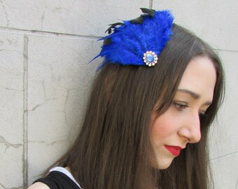 Blue Black Feather Fascinator Headpiece Vintage Silver Hair Clip Races Net Y82