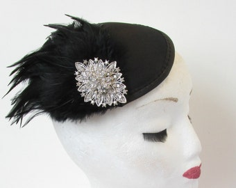 Navy Blue Red Silver Peacock Feather Fascinator Vintage Hair Clip 1920s 30s 1177