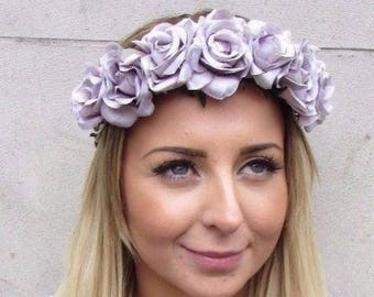 Dark Purple Lilac Flower Headband Hair Crown Floral Flower Rose Peony Boho 4244