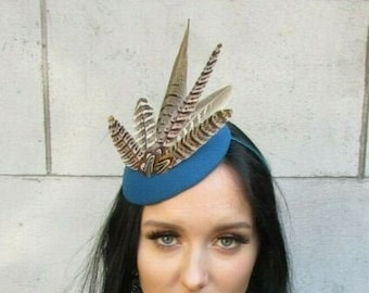 Made to Order Dark Emerald Green and Brown Rustic Style Pheasant and Peacock Feather Wedding Fascinator Percher Hat Headpiece