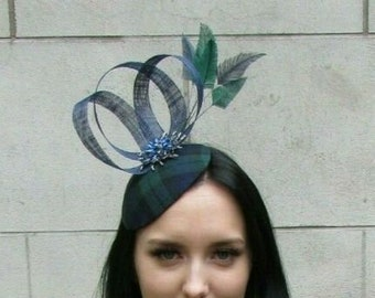 bridesmaid Tartan fascinator- ABERFELDY- military holidays Green and Navy Highlands wedding Black Watch