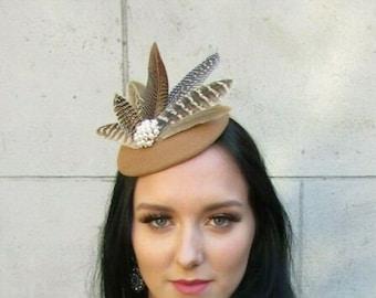Rose Gold Hot Light Pink Flower Feather Hat Hair Fascinator Sequin Floral 6424
