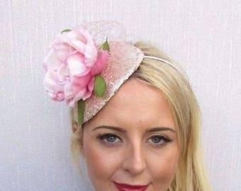 Blush Light Pink Champagne Peony Flower Fascinator Races Wedding Headband  3536 2318dfb8c0d3