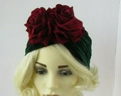 1940s Hair Snoods- Buy, Knit, Crochet or Sew a Snood Emerald Dark Green Burgundy Red Wine Rose Flower Velvet Turban Floral 1940s Vintage Style Bottle Green Headpiece Hair Cover Fascinator 0329 $14.83 AT vintagedancer.com