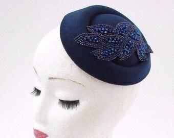 b10254ef3ad Navy Royal Blue Pillbox Hat Hair Fascinator Races Statement Cocktail Vtg  3070