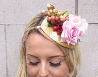 Gold Peach Pink Red Berry Flower Fascinator Teardrop Races Headband 1950s  3472 e159506eb93