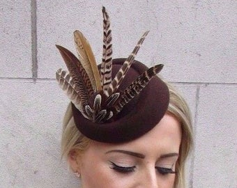 Brown Pheasant Feather Pillbox Hat Hair 1940s Fascinator Races Vintage Clip  3889 2a3beb7fe00