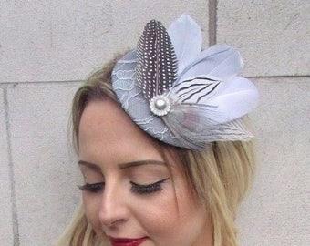 752a614e4ff Grey White Silver Feather Fascinator Pillbox Hat Races Wedding Headpiece  3637
